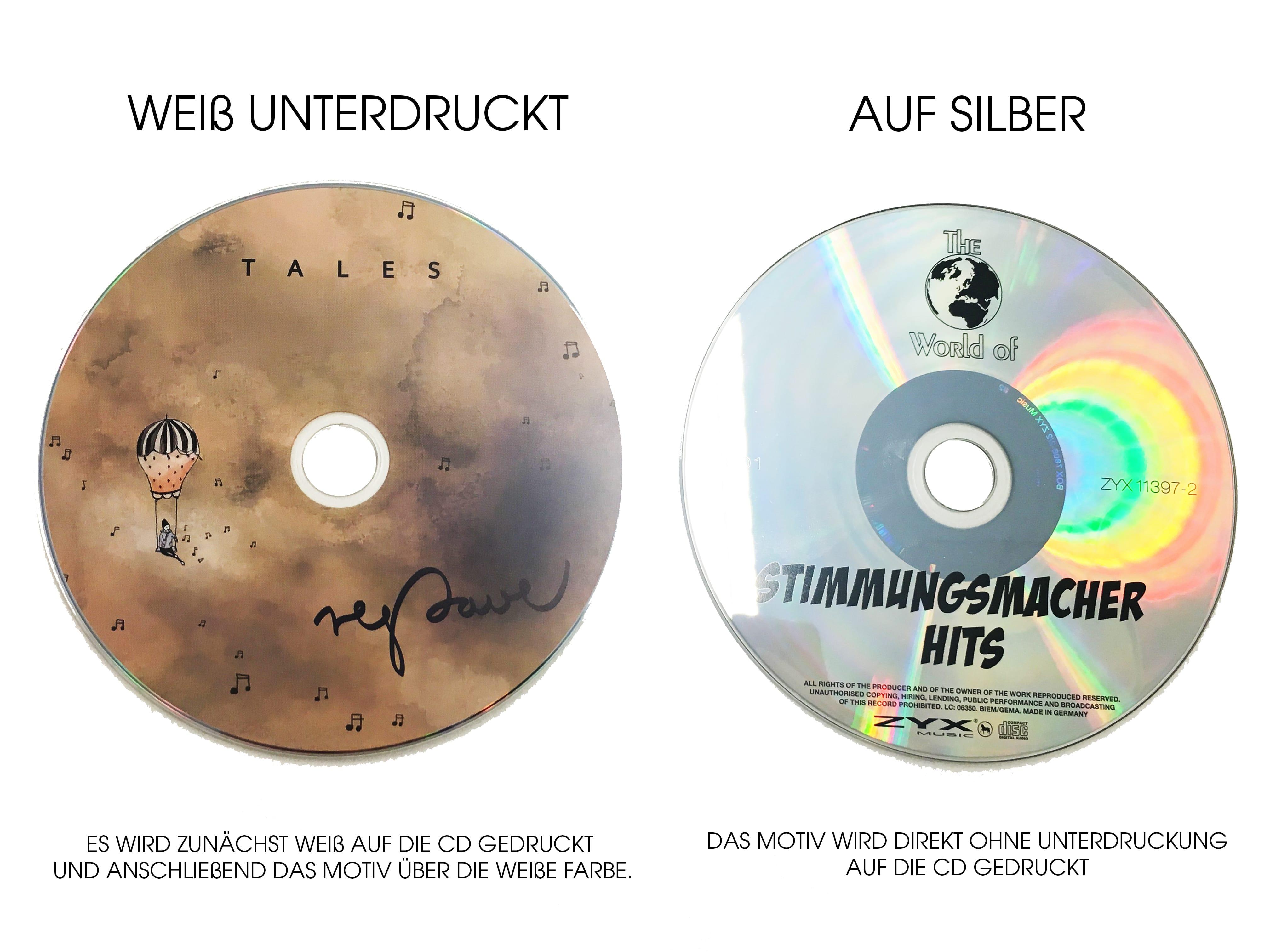 Weiß Unterdruckte CD und mit silberner Oberfläche