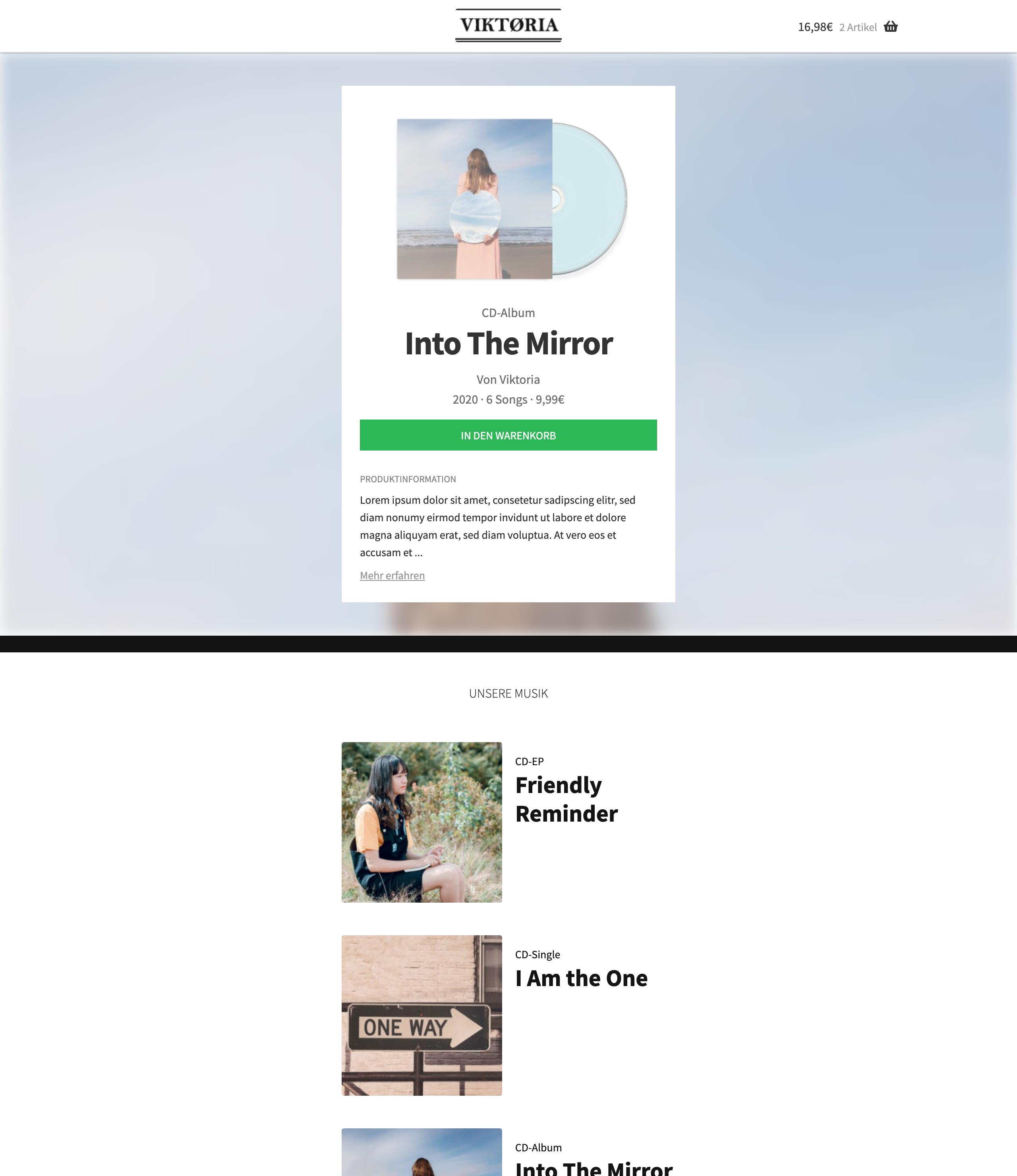 Screenshot: Shop Startseite