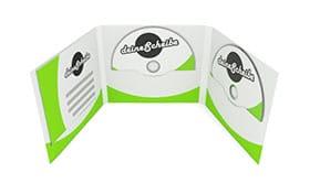 CD-Digifile 6-seitig für 2 CDs/DVDs mitte und rechts mit Bookletschlitz links